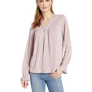 NWT Lucky Brand PINTUCK PEASANT TOP DEAUVILLEMAUVE